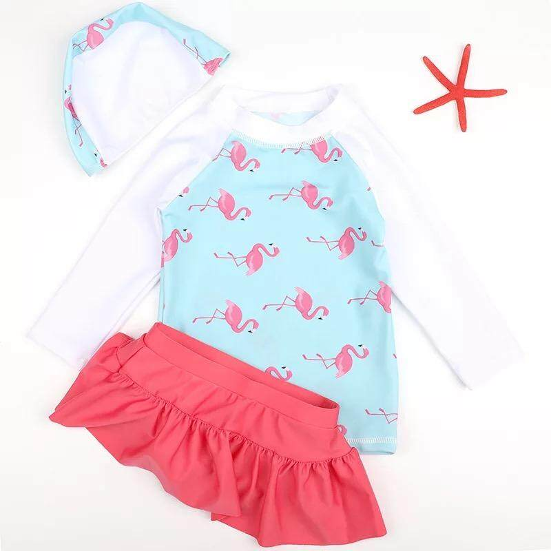 3piece/set Free Cap-Hot Sellings 50+ Upf Sun Protection Kids Baby Girl Flamingo Pink And Blue Design Swimsuits By Ice Bumblebee Ventures.