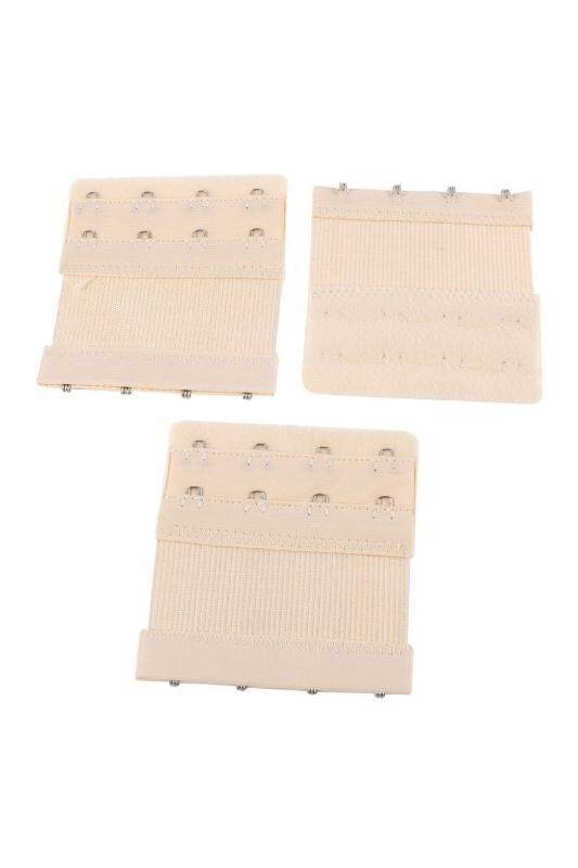 3 Pcs Underwear Buckle 4 X 2 Positions Bra Strap Extending Hooks Beige By Sunnny2015.