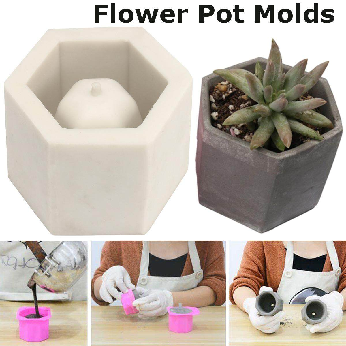 JM hexagon flower pot mold silicone mold for vase cement concrete silicone mould