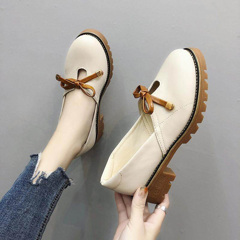 39a8aed169b (4cm heels) Women fashion chunky big heels slip on shoes top leather casual  shoes