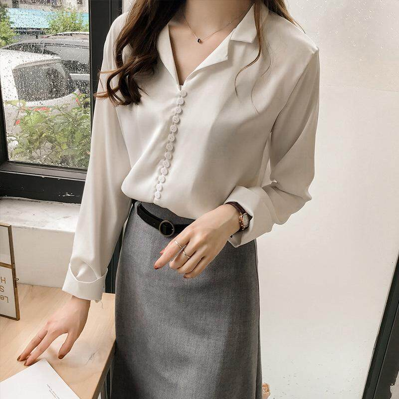 3e8a6b79216 URFN High Quality Minimalist Solid Woman Shirts Causal Long Sleeve Blouses  Female Fashion Tops