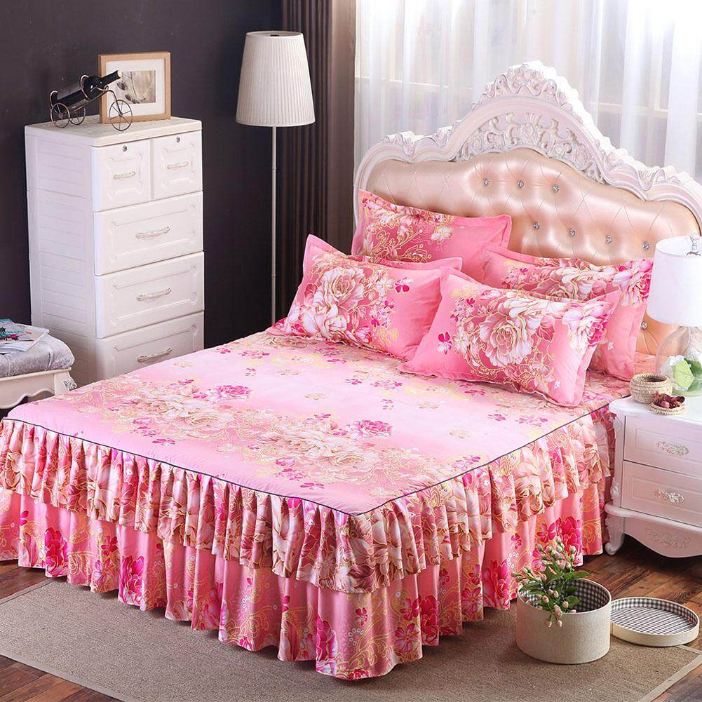 Coromose Floral Fitted Sheet Cover Graceful Bedspread Laced Fitted Sheet Bed Cover Skirt Wedding Housewarming Gift? Style:charming Kao Dimensions:1.5x2 M Bed Skirt Single By Coromose