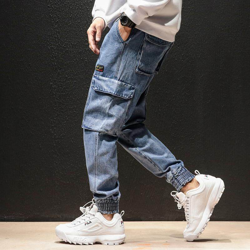 6e96bc208ec Autumn Tide Brand Japanese Retro Jeans Male Hip Hop Loose Harlan Overalls  Beam Feet Pants M