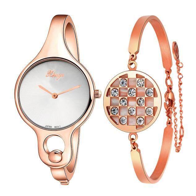 BPFAIR Xinge Women Gold Rhinestone Bangle Watch And Bracelet Set Malaysia