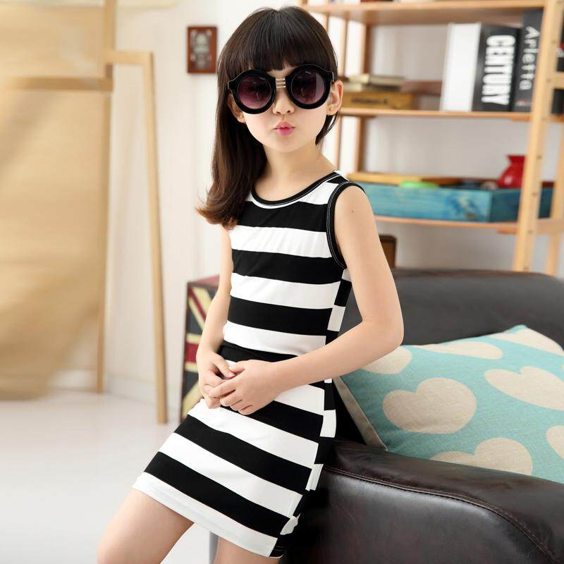 e71df9ec04 Children Girls  Clothing Black And White Stripes Summer Girl Dress 100%  Cotton 3-