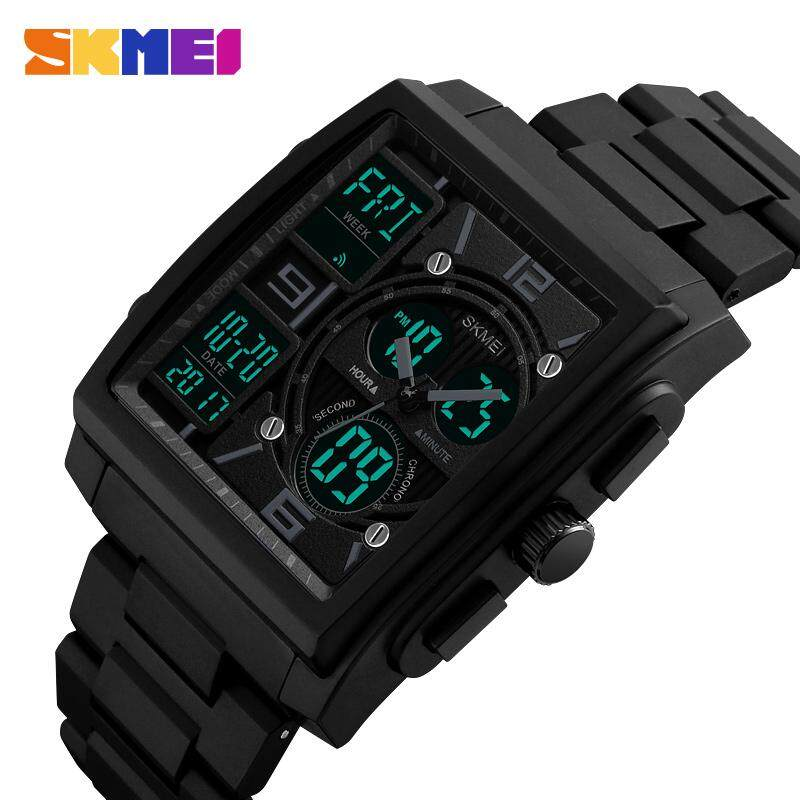 SKMEI Men Square Sports Watches Fashion Digital Countdown Watch Dual Display 3 time Chronograph 50M Waterproof Wristwatches 1274 Malaysia