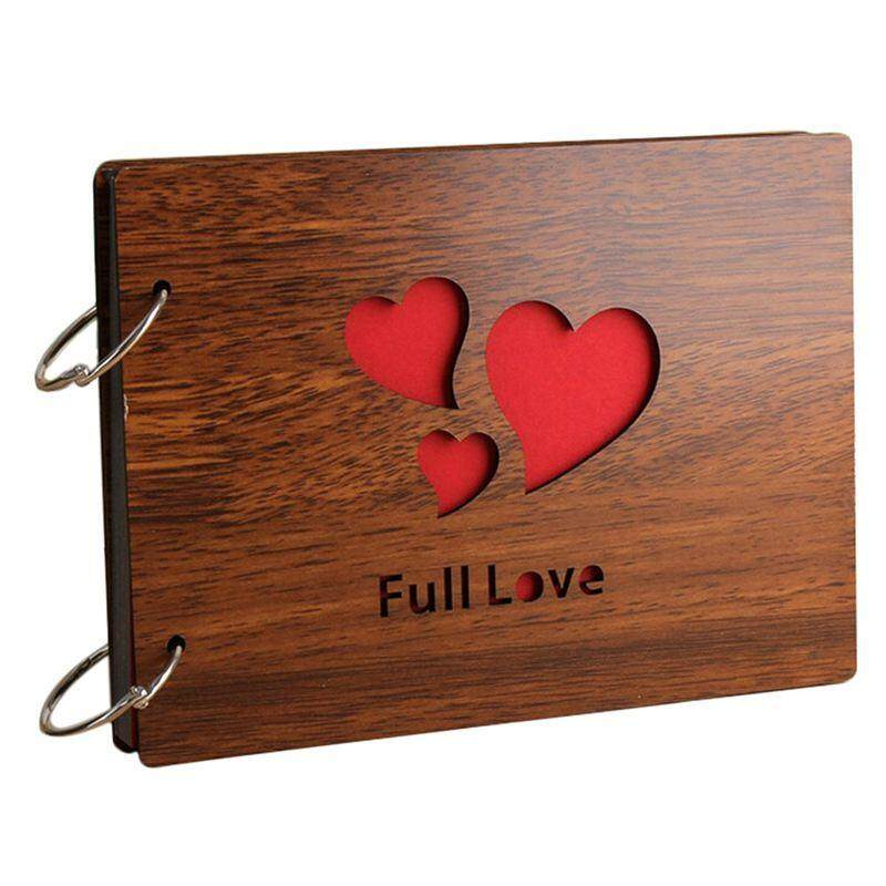 Diy Photo Album Wood Cover Anniversary Scrapbook 8 X 6 Inches Self-Adhesive Picture Book With Black Pages For Wedding Guest Book Couples Our Love Story Memory ( Full Love) By Xhkjin.