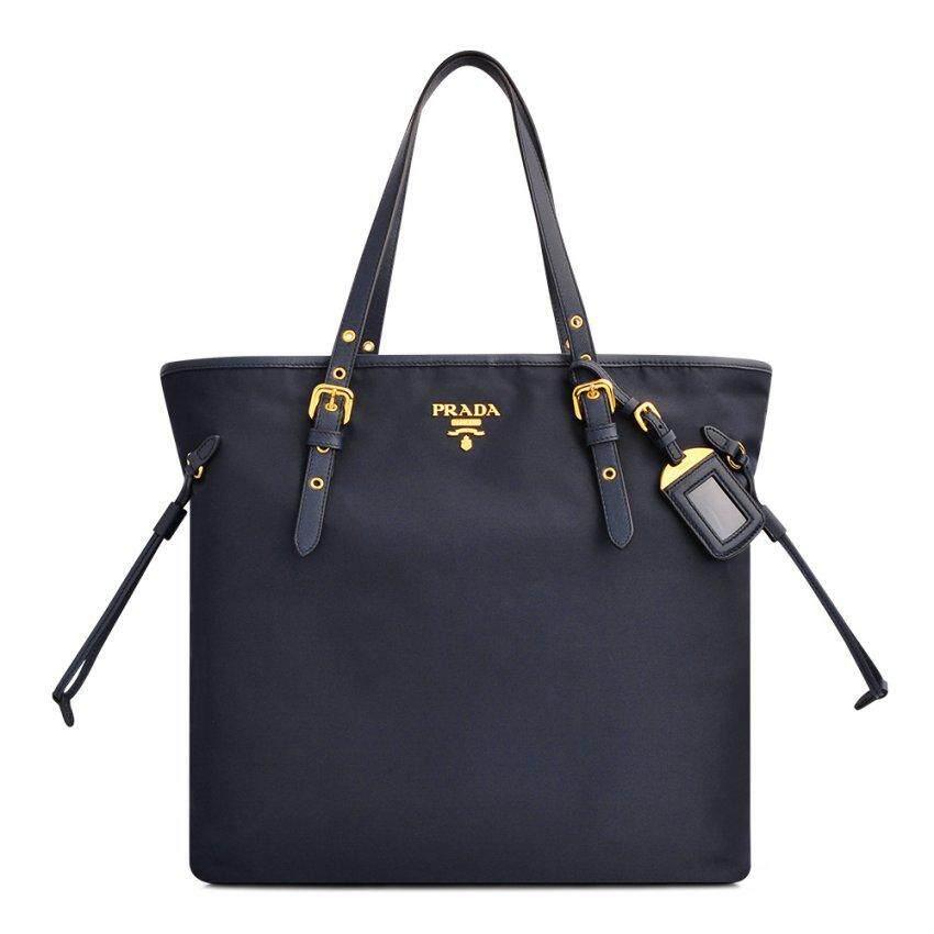 Prada Nero Tessuto Saffiano Ping Tote Bag Bleu