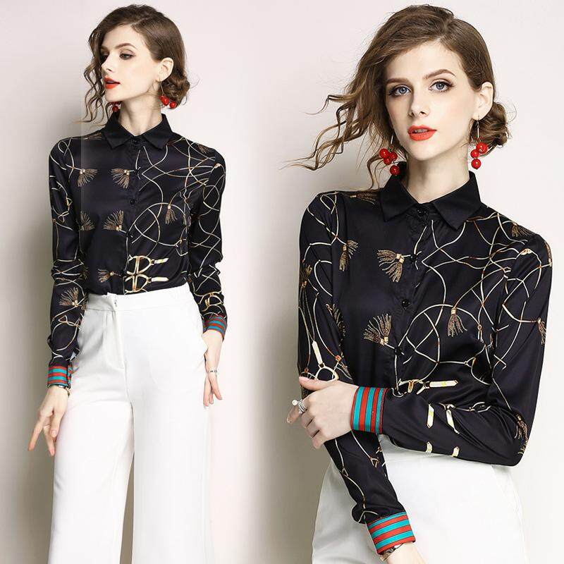 c623f3cae037ef European Station New Women s Temperament Print Top Fashion Wild Lapel Long-sleeved  Shirt