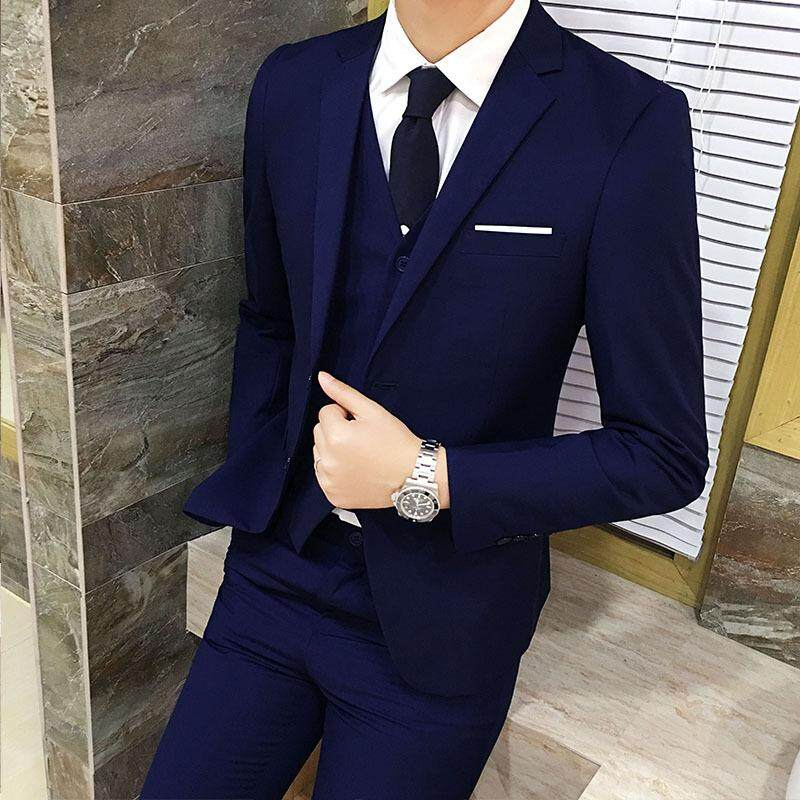 9a7e0fc1060 2018 New Men s Business Casual Three Piece Suit Coat Groom s Best Man  Wedding Big Code A