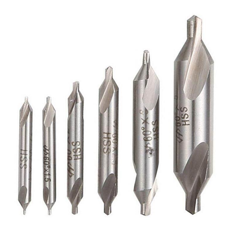 6 PCS HSS Combined Center Drills Bit Set Countersink 60 Degree Angle 5/3/2.5/2/1.5/1 mm