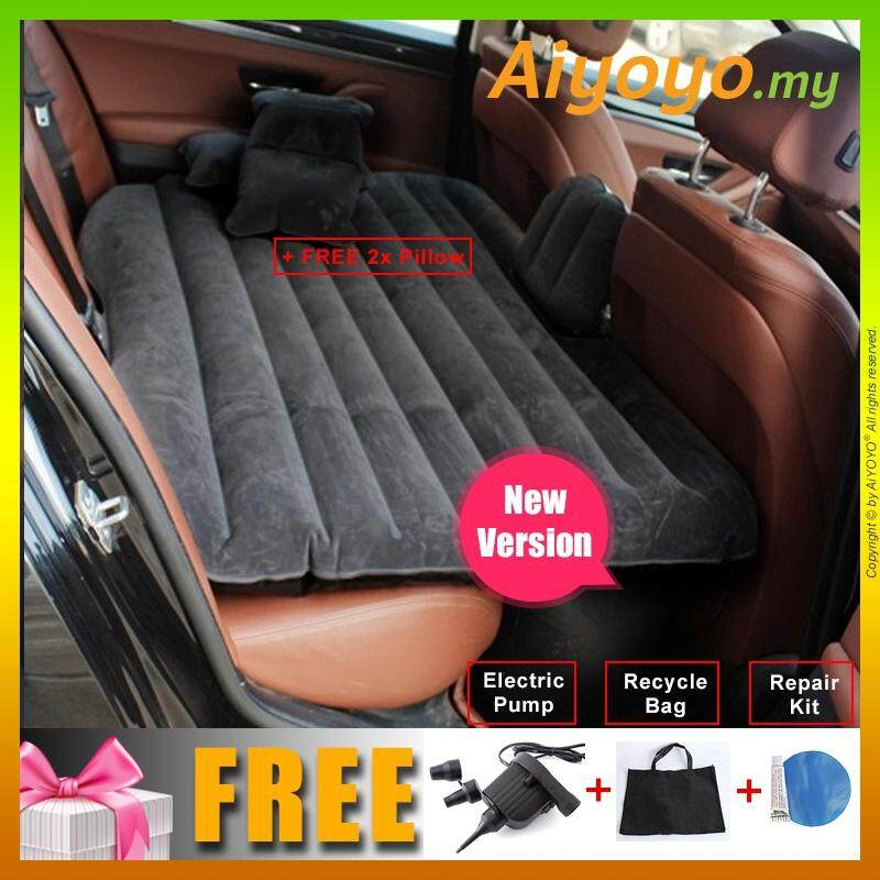 Inflatable Car Bed Air Mattress For Backseat 2 Pillows Pump Universal Outdoor Camping Seat