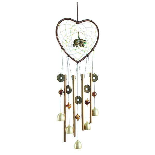 1 Copper Metal Home Decoration Heart Shaped Elephant Metal Tube Bell Bell Bell Gift Pendant Length: 60cm By Shakeshake.