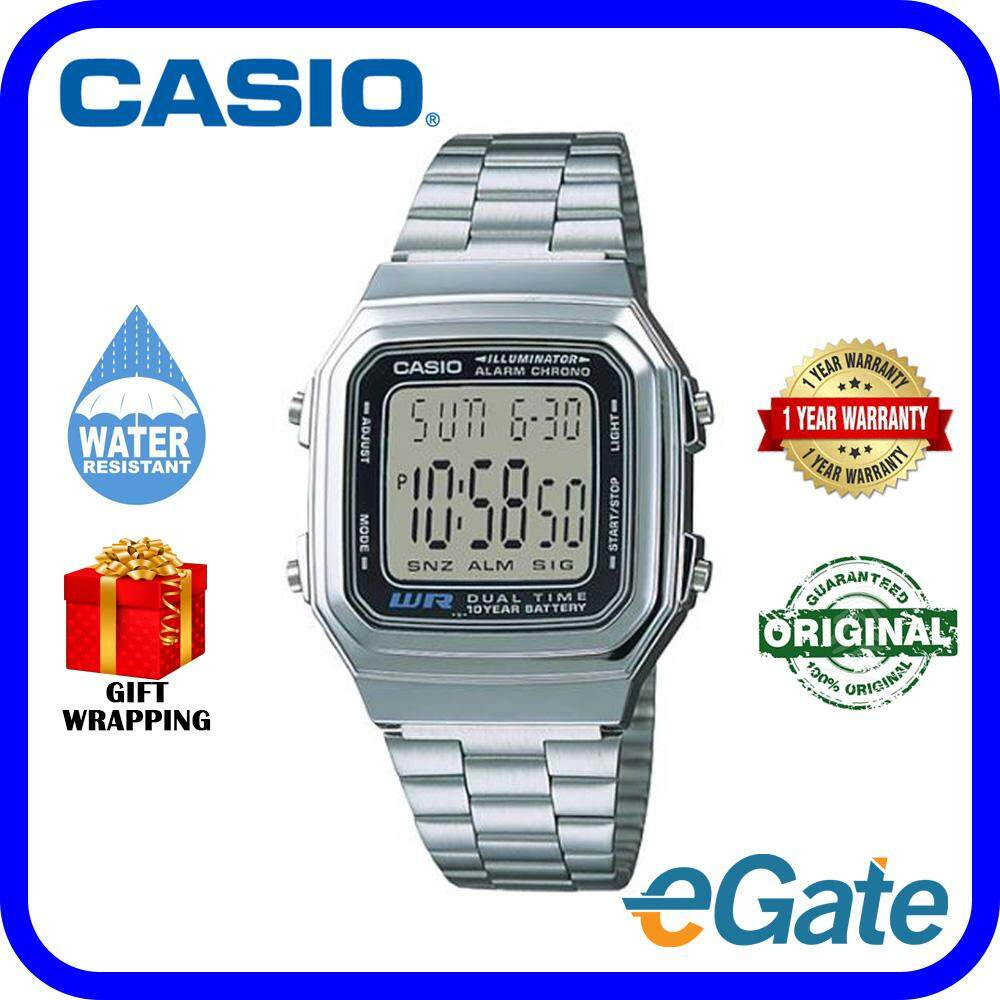 d2ad40d29c8aa ( 2 YEARS WARRANTY ) Casio A178WA-1A Unisex Digital Classic Stainless Steel  Band Original