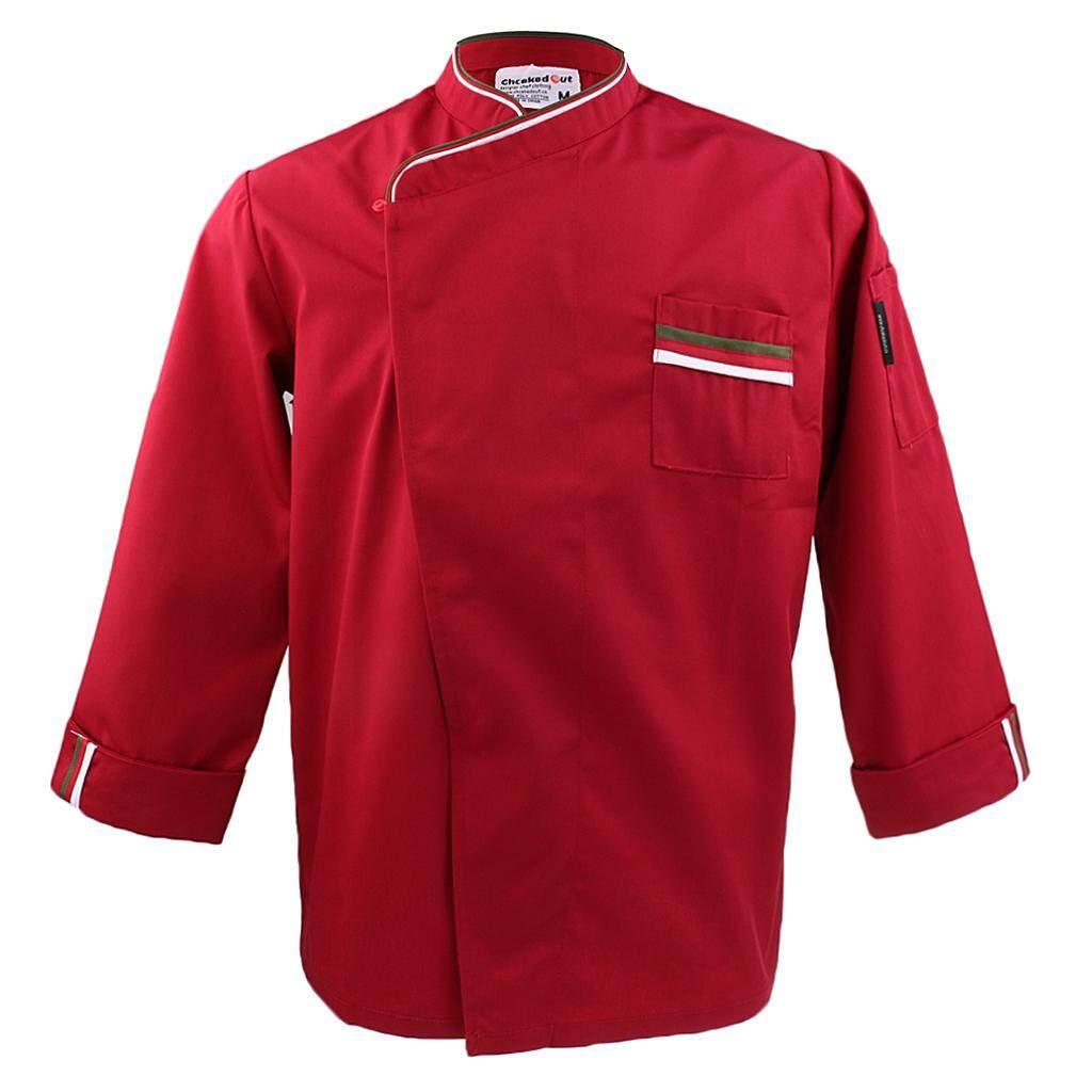 MagiDeal Mens Womens Long Sleeve Chef Jacket Coat Restaurant Cook Uniform XL Red
