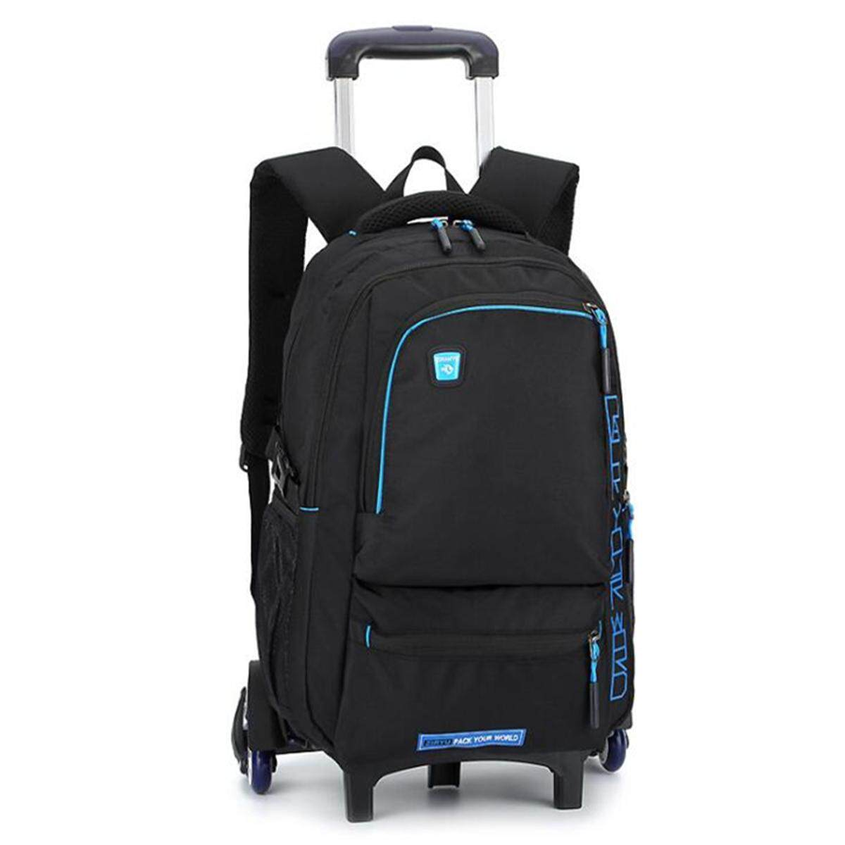 09ef56ce3b67 Kids Boys Student Six-wheel High Feet Detachable Trolley Backpack School  Bags