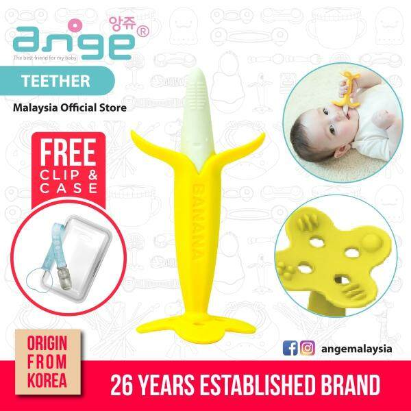 Korea Ange Banana Toothbrush with Soft Sensory BPA Free Silicone, Clip & Case