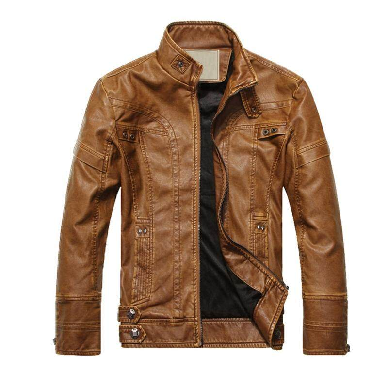 1a564d9c200f Fashion Men s leather motorcycle coats jackets washed leather coat Yellow  soil Size L