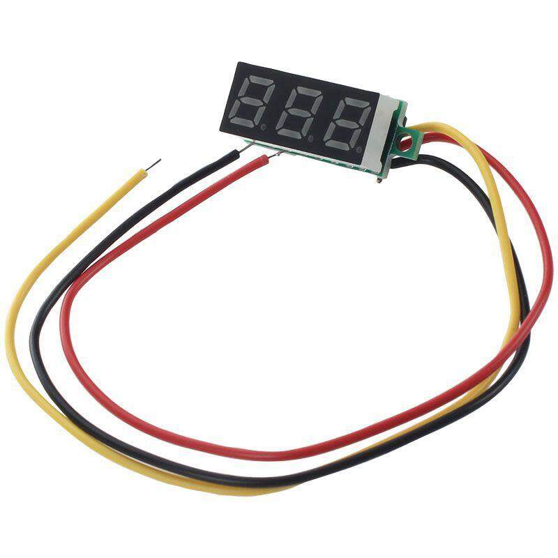 Mini Digital Voltmeter DC 0-100V LED Panel Voltage Meter 3-Digital With 3 Wires Green