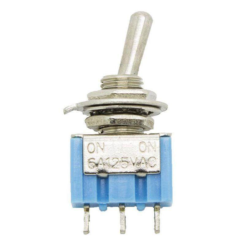 20 Pcs AC 125V 6A Amps On/Off/ 2 Position Terminal SPST Latching Mini Toggle Switch,blue & silver