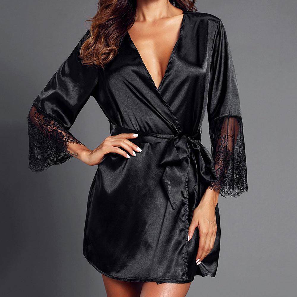 1f1c10e2abd Aiipstore Women Lace Patchwork Long Sleeve Nightgown Kimono Satin Black  Robes