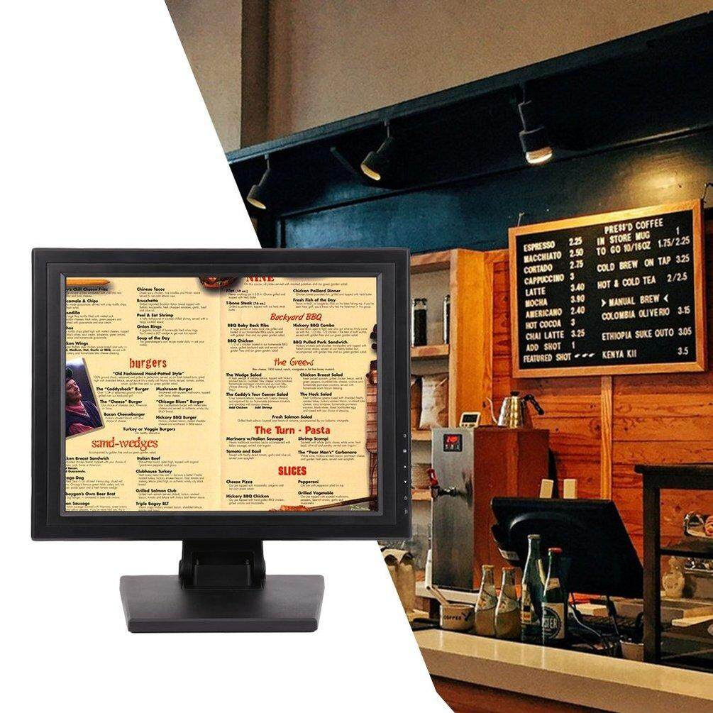 ELEC 15 Inch TFT LED Screen Display Touch Screen Monitor for Restaurant Retail Bar US Plug Malaysia