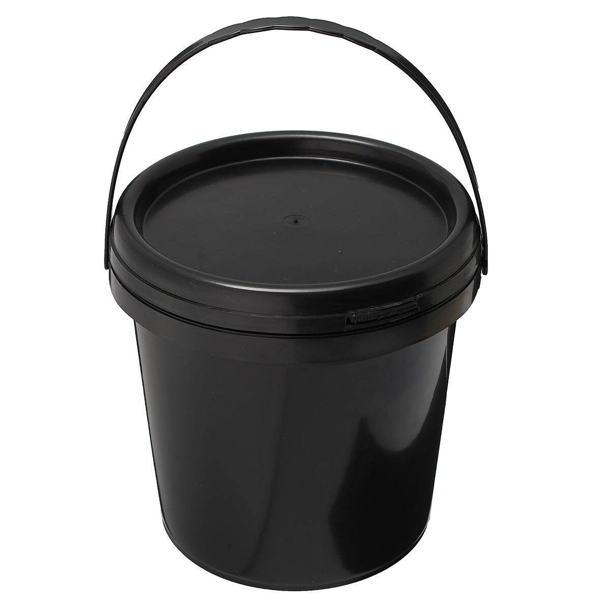Plastic Paint Pail 5L Litre Durable Black Round Bucket with Lid and Handle Tool