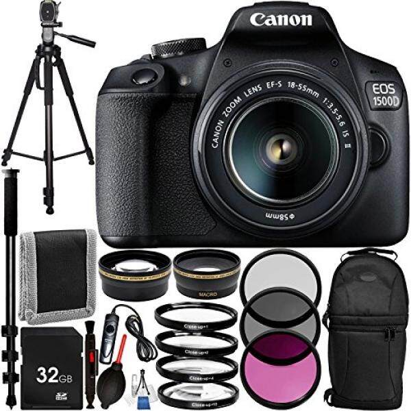 "Canon EOS 1500D/Rebel T7 w/18-55mm Lens and 13pc Accessory Bundle – Includes 32GB SD Memory Card + Sling Backpack + 72"" Professional Tripod + 72"" Monopod + MORE - International Version (No Warranty)"