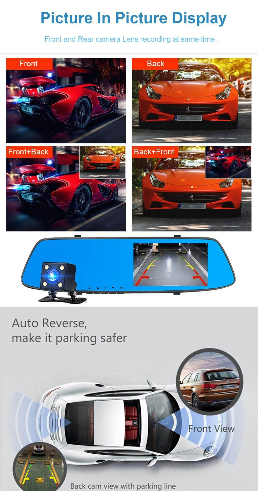 New Touch Screen Rearview Mirror Dash Camera (BLACK A75)