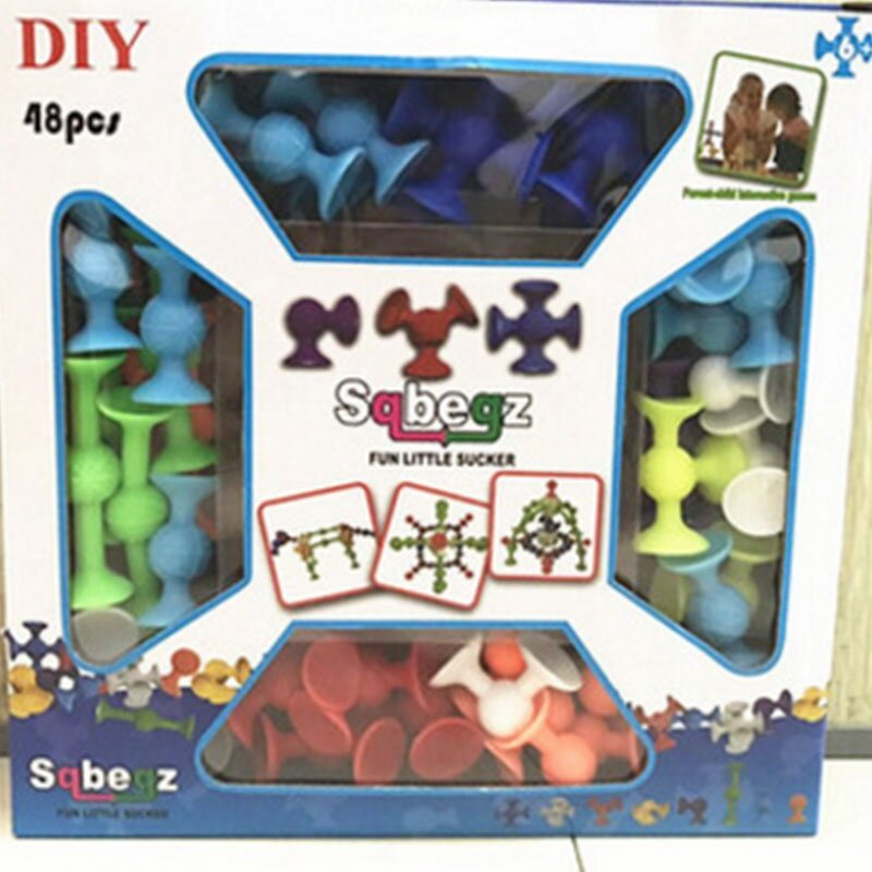 72pcs Squigz Sucker Cup Toys Building Blocks Intellectual Development Silicone