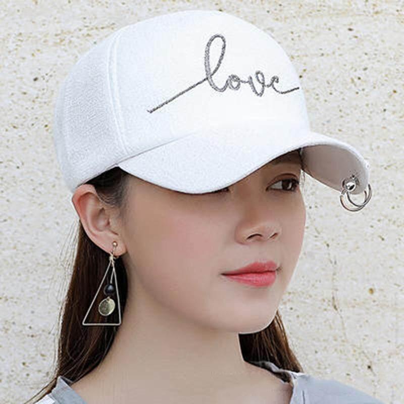 b46ed740a1f BZY High Quality Iron Hoop Bead Visor Hat Love Embroidery Snapback Cap for  Women Baseball Cap