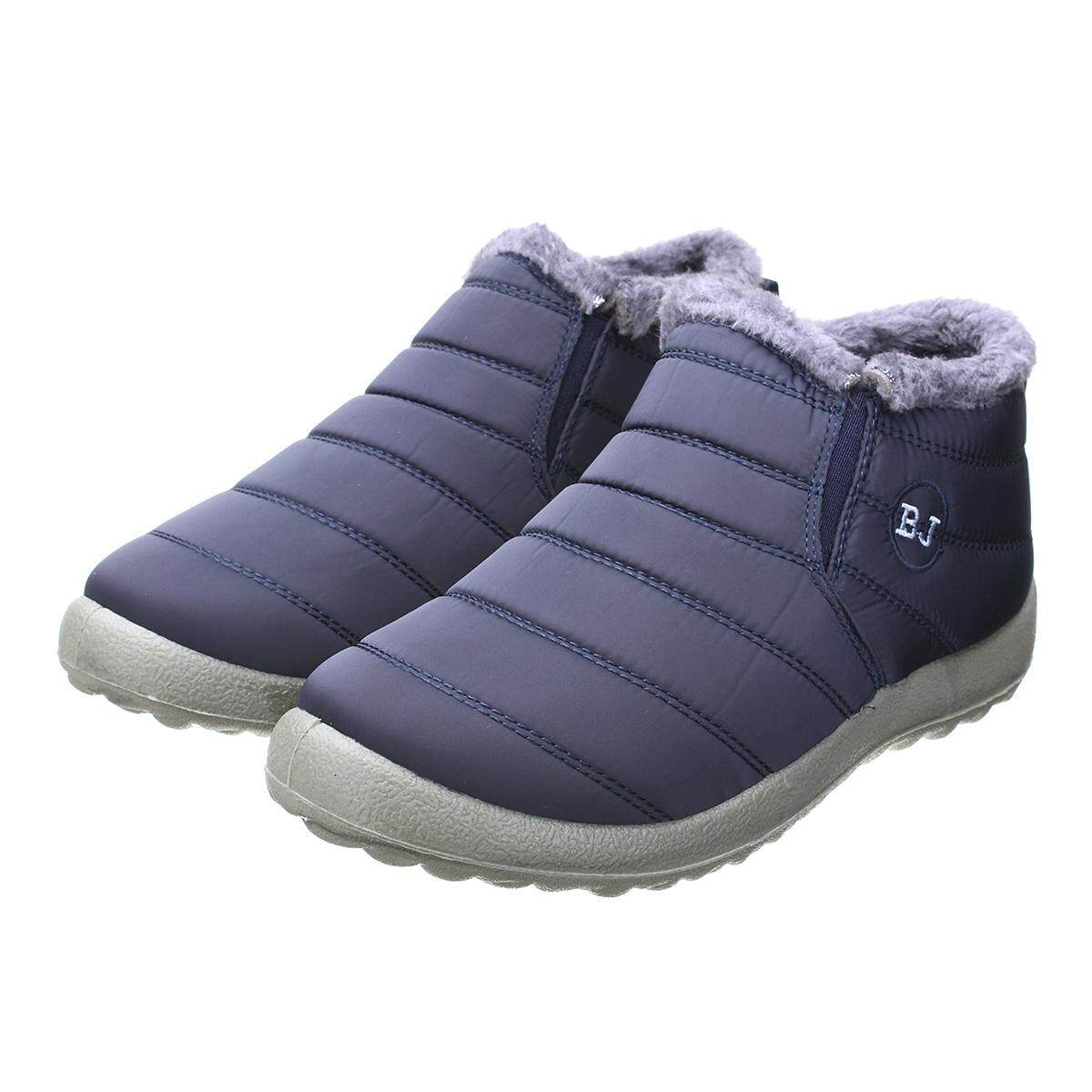 042500220 HOT Women's Winter Warm Fabric Fur-lined Slip On Ankle Snow Boots Sneakers  Shoes BLUE