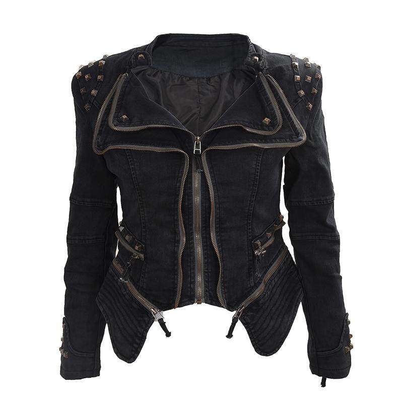 bb653590e2c0 Women Denim Jacket Punk Style Rivet Studded Lapel Coat Black M