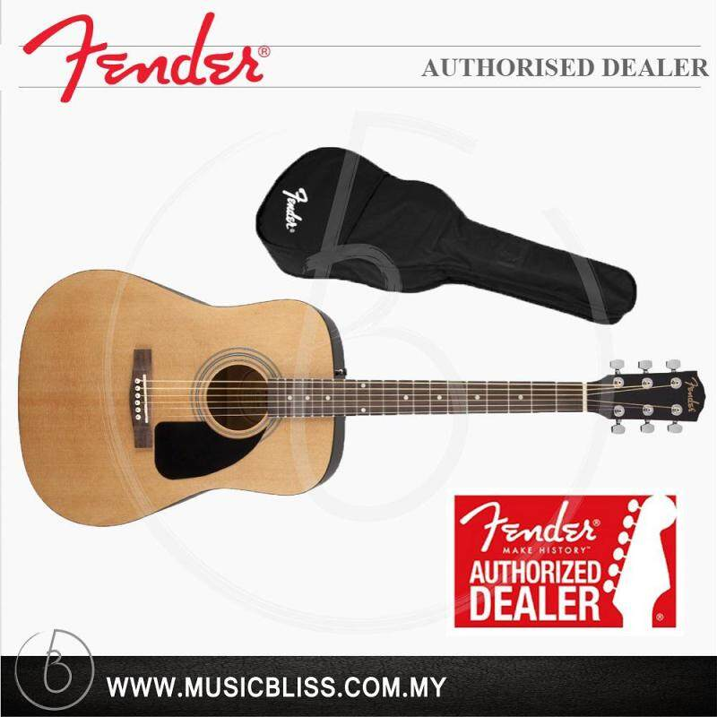 Fender FA-100 Dreadnought Acoustic Guitar with Gig Bag, Natural (FA100) Malaysia