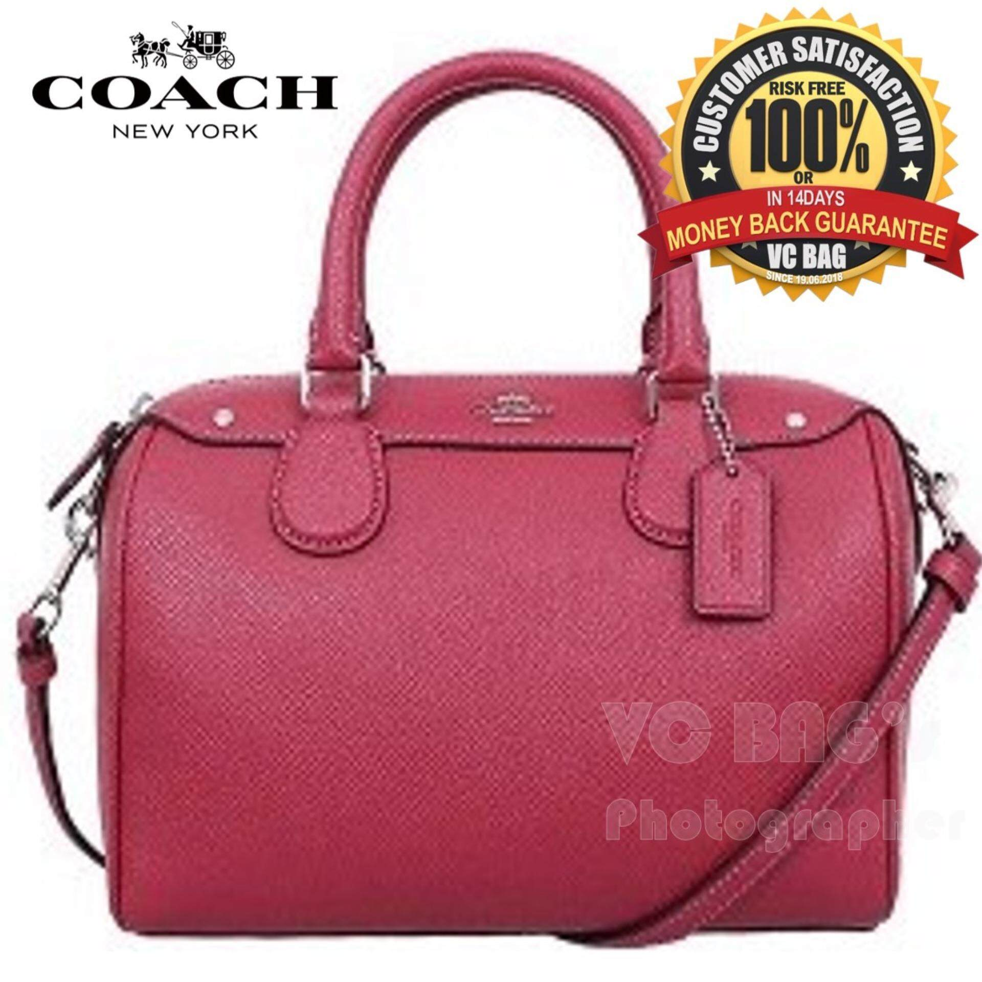 COACH F57521 Mini Bennet Satchel in Crossgrain Leather Bag  Silver Rouge  0f3fccdd080ae