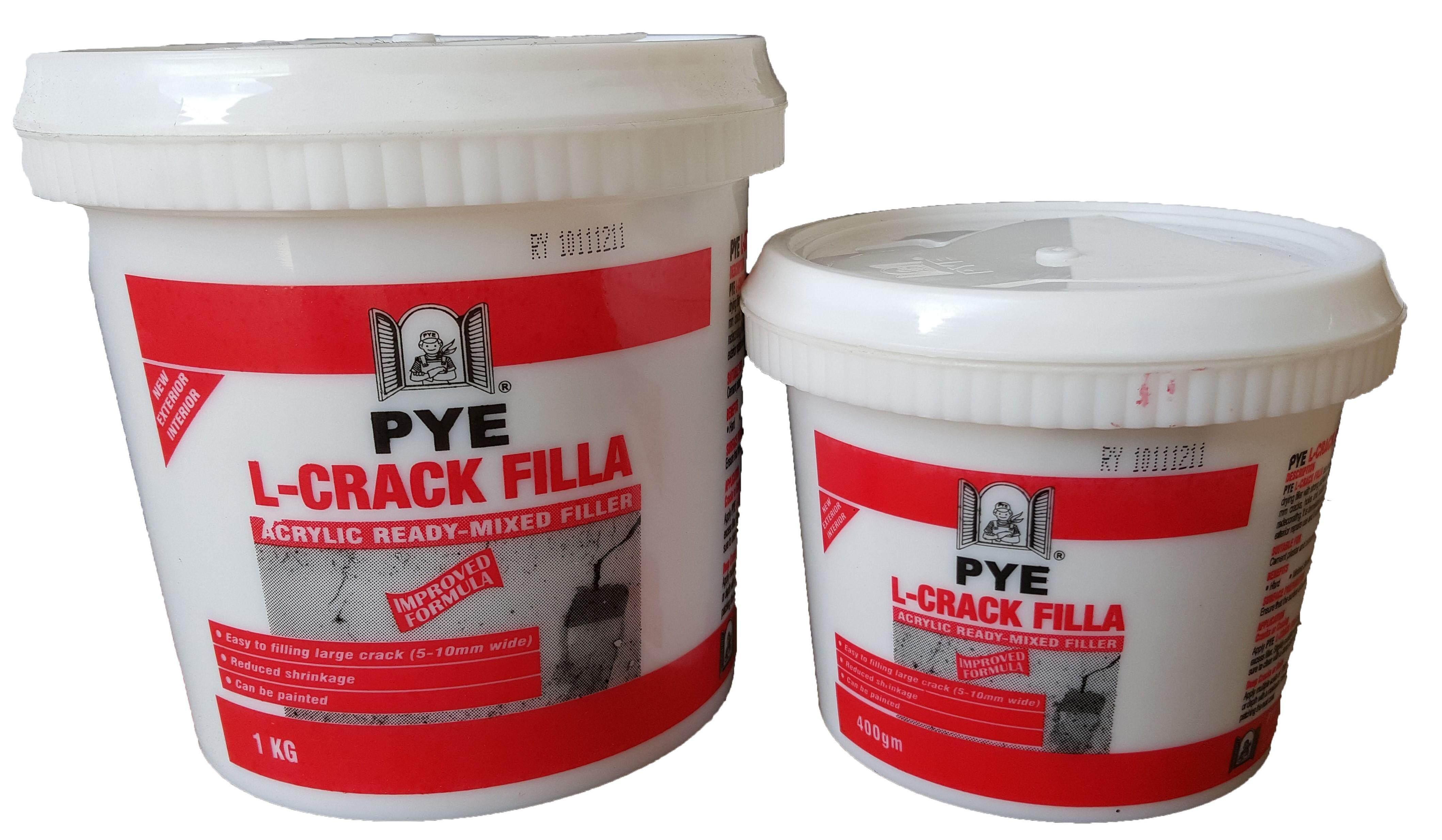 PYE L-Crack Filler 0.4kg Wall Crack Hole UP TO 5-10mm Indoor & Outdoor