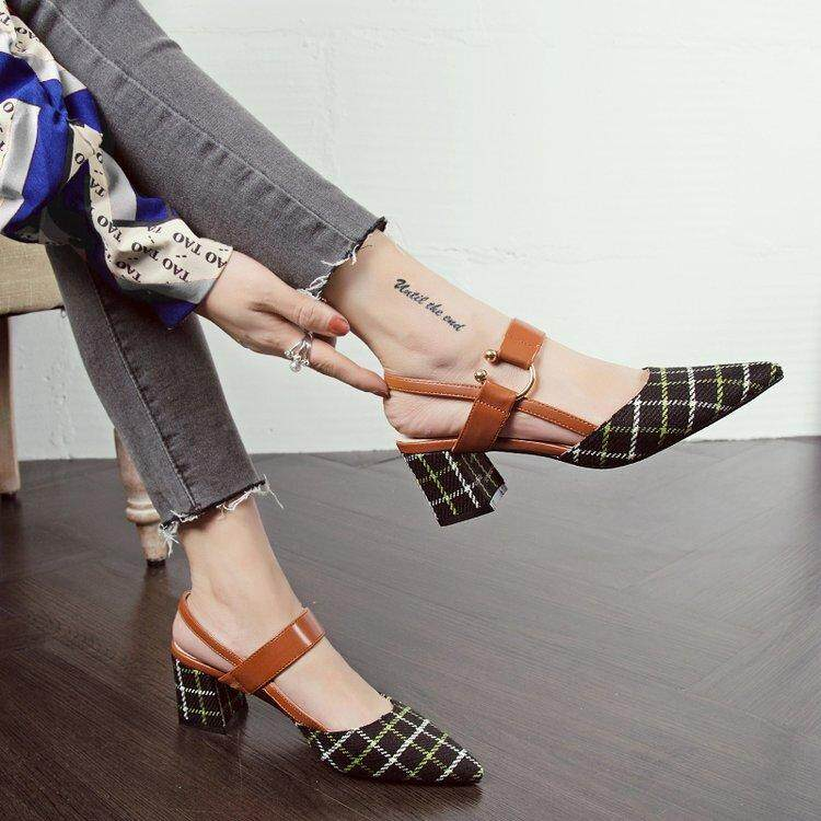 Vintage Chic Shoes Female 2018 New Style Spring Summer Chunky Heel Pointed Shallow Mouth High