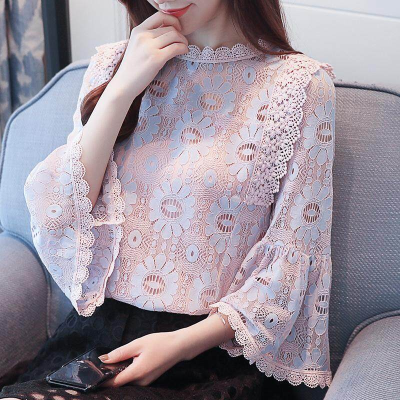 0805cb39dbeb9 Fashion Woman Hollow Out Lace Tops Causal Female Flare Sleeved Chiffon  Blouses