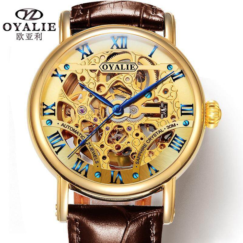 OYALIE Product Hollow out Analog Watch Fully Automatic Watch Leather Belt Couple Watch a Men And Women Business Waterproof Malaysia