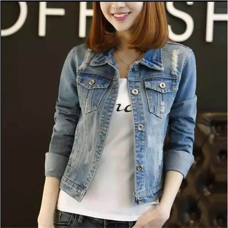 5c21390ddea New Women Casual Basic Spring Autumn Cowboy Denim Coat Jacket Hole Plus Size