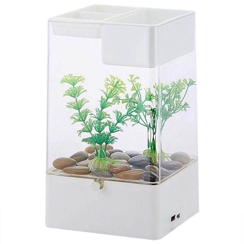 LED Light Square USB Interface Aquarium Ecological Office Desk Fish Tank Filter, White + transparent