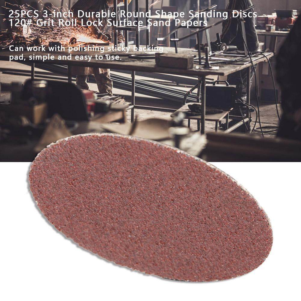 25PCS 3-inch Durable Round Shape Sanding Discs 120# Grit Roll Lock Surface Sand Papers