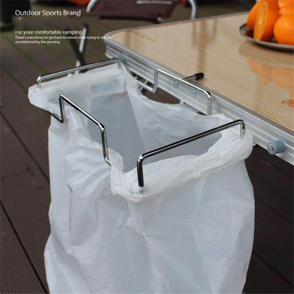 Metal Garbage Bag Holder, Trash Bag Storage Rack Bracket, Dustbin Cage Hanging Cabinet Table Rack For Outdoor Kitchen Silver
