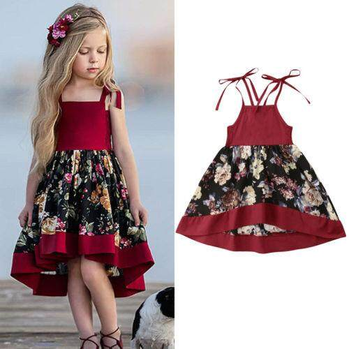 bf9c18fa278a Toddler Baby Girls Clothes Dresses Tutu Strap Dress Party Princess Dress  Sleeveless Floral Sundress Girl