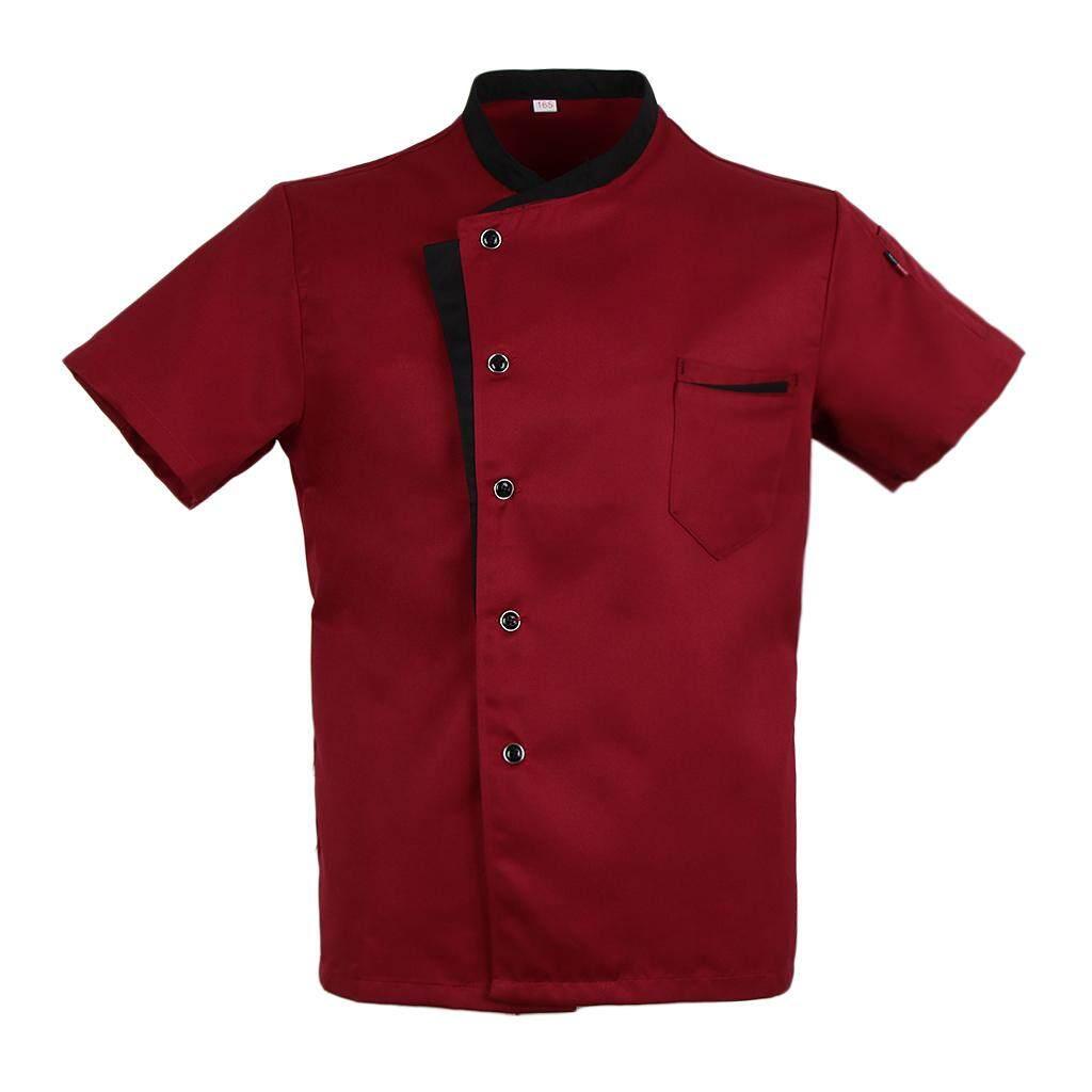 MagiDeal Unisex Chef Jacket Coat Short Sleeves Shirt Hotel Kitchen Uniform Red L