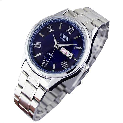 SWIDU brand mens watches quartz alloy strap double date luminous hands roma scale business casual men clock blue Malaysia
