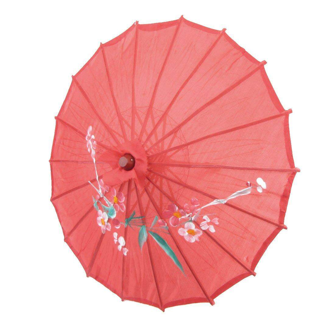 Flower Print Red Cloth Bamboo 21 Dia Chinese Oriental Umbrella Parasol By Jonesmayer.