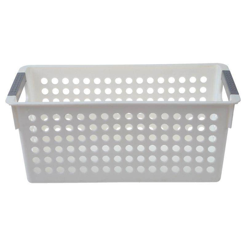 Japanese-Style Stackable Plastic Storage Baskets/bins Organizer Fruit Toys Clothes Glove Box Debris Storage Basket (white)s:29*16*12cm By Greatbuy666.