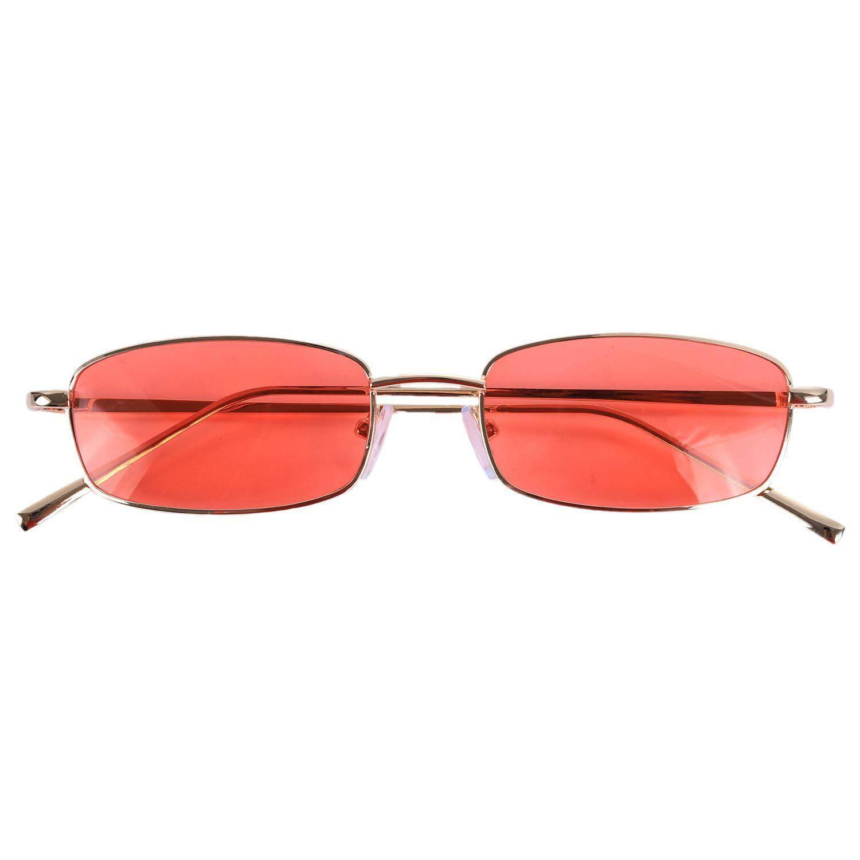 b862a438787 Vintage Sunglasses Women Men Rectangle Glasses Small Retro Shades sunglasses  women S8004 gold frame Orange