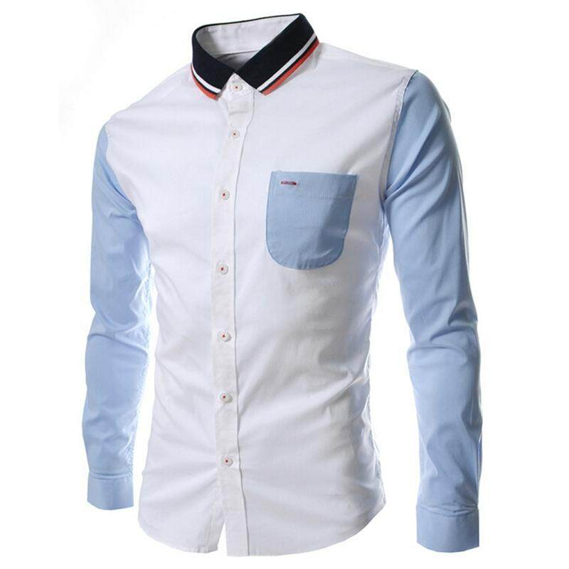 a4403044 New Patchwork Unique Neckline Mens Dress Shirts Men Shirt Long Sleeve Slim  Fit Social Shirts For